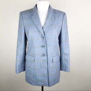 Escada Ermenegildo Zegna Wool Plaid Blue Blazer 6